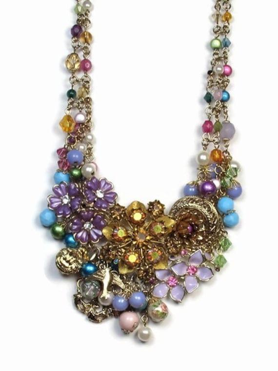 Flower Statement Necklace, Repurposed Jewelry