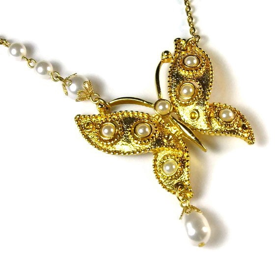 Unique Whimsical Butterfly Necklace, Upcycled, Repurposed Jewelry
