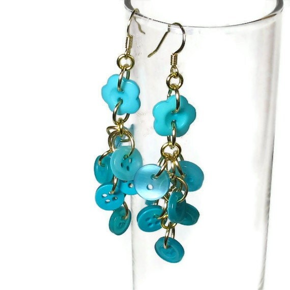 Button Earrings, Colorful Jewelry, Turquoise Jewelry