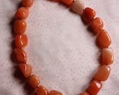 Necklace - Nugget Shaped Carnelian Beaded 18""