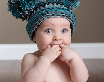 Baby Ear Hat - Blue Plaid Pom Pom Hat- Blue Plaid - Knit Hat - 6 to 12 months - Photography Prop