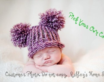 Pick Your Own Color - EAR HAT Newborn Baby Flat Top Hat Purple Pink Green Blue Brown White with Pom Poms - Photography Prop