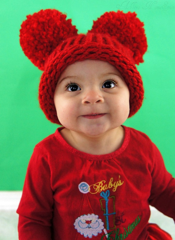 Baby Ear Hat - Red Pom Pom Hat - Red All Over - Knit Hat - 6 to 12 months - Christmas Holiday Hat - Photography Prop