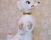 Vintage 50s Poodle Figurine Fancy Poodle Dog Figurine w Flower Hat Gold Trim