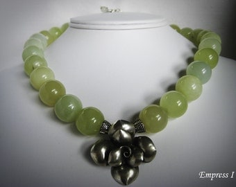 SALE - Rose Necklace, Jade Necklace, Jade Jewelry, Statement Jewelry, Chunky Necklace, Stone Necklace, Nephrite Jade, Green Jewelry, Gift