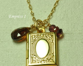 Little Gold Locket Necklace, Small Locket Necklace, Gold Locket Necklace, Keepsake Jewelry, Book Locket, Charm, Jewelry For Women, Gift Idea