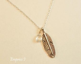 Silver Feather Necklace, Aqua Marine Necklace, March Birthstone, Feather Necklace, Feather Jewelry, Aqua Marine Jewelry, Gift Idea