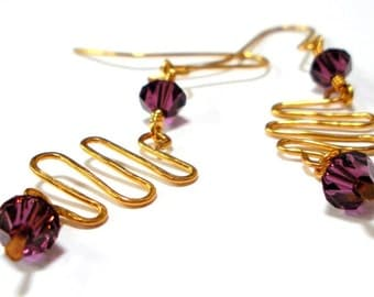 Handmade Hammered Wire Earrings with Purple Swarovski Crystals