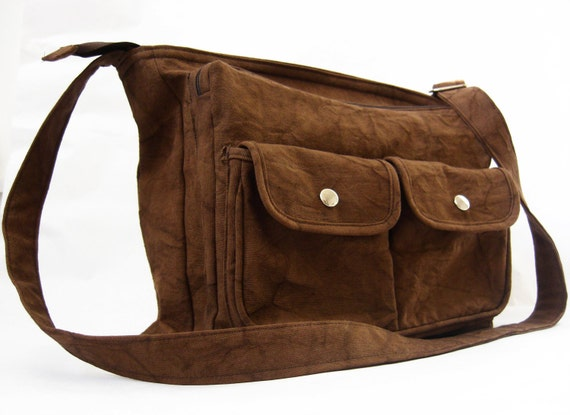 20% DISCOUNT-Organic and Fair Trade Cotton Canvas Phileas Satchel in Brown