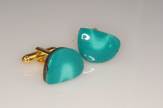 Great Color American Turquoise Cufflinks 20mm Matched Pair Stunning Blue Green  H-110