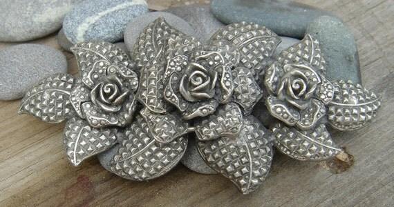 SALE // Antique Silver Rose Blossom Belt Buckle
