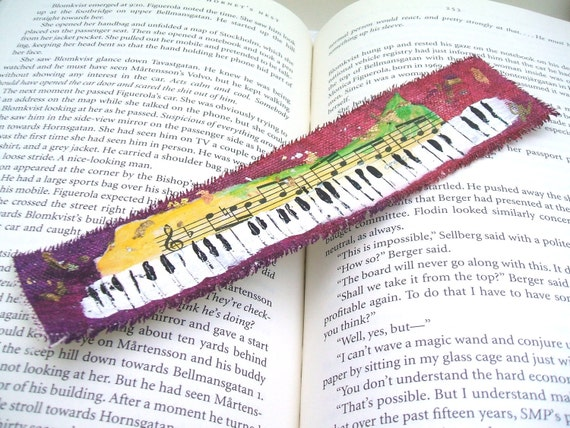 Painted Bookmark - Colourful Keyboard (Original Fine Art Painting)