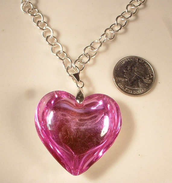 Vintage Big Pink Glass Heart Pendant Silver Necklace