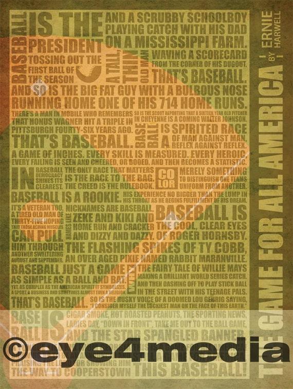 Ernie Harwell's Game For All America Baseball Poster (18 x 24)