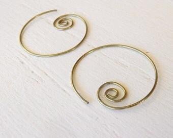 niobium nickel free hoops yellow gold niobium spiral hoop earrings, hypoallergenic hoops for sensitive ears, spiraling gold niobium hoops