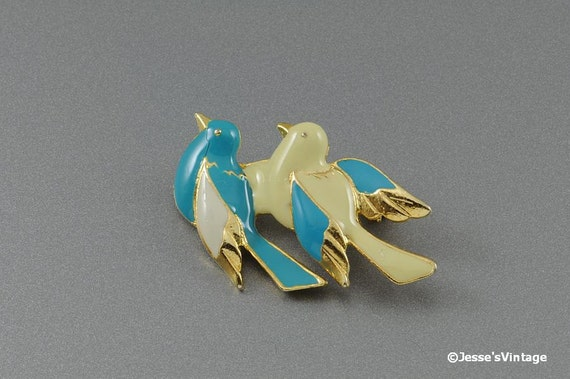 RESERVED for Felix Vintage Bird Brooch Pin Lovebirds Blue & Yellow Enamel