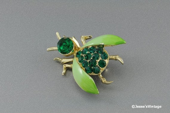 Vintage Bug Insect Fly Brooch Pin Emerald Green & Olive