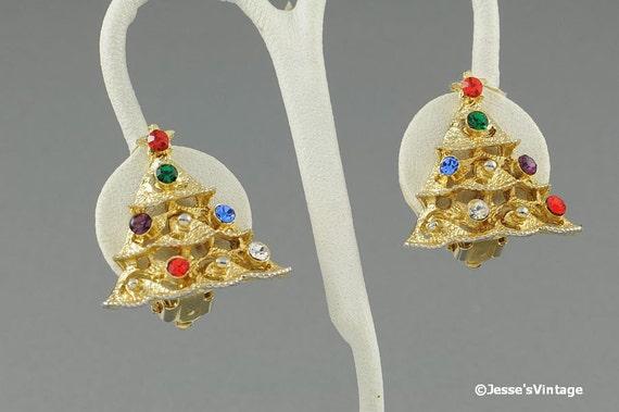 Christmas Tree Earrings Gold Tone Rhinestones
