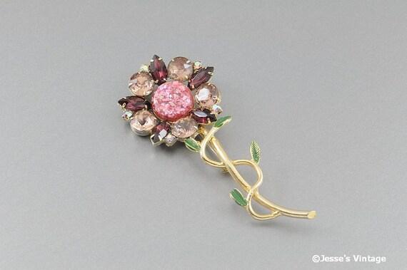 Large Flower Brooch w Pink & Amethyst Rhinestones Enamel