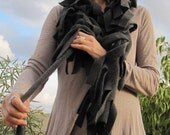 ON SALE Fleece funky boa scarf - adjustable, Dark Grey color