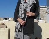 Fleece funky boa scarf - adjustable, Light Grey ON SALE