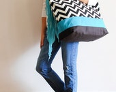 Extra Large Beach Bag // Tote in Black and Cream Chevron, Monogram Available