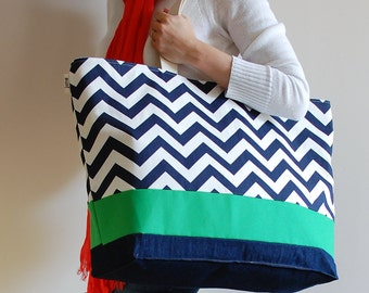 EXTRA Large Beach Bag // Tote in Navy Chevron with Green Accent, Monogram Available