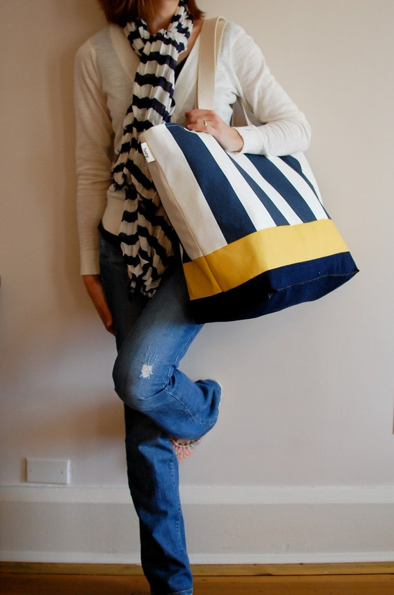 EXTRA Large Beach Bag // Tote in Navy and Cream Stripes with
