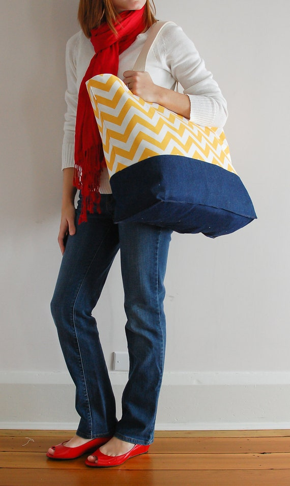 EXTRA Large Beach Bag // Tote in Chevron Yellow