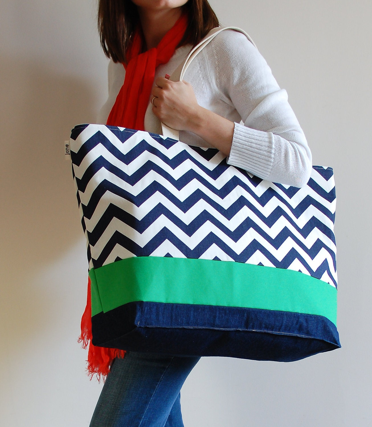 EXTRA Large Beach Bag // Tote in Navy Chevron with Green