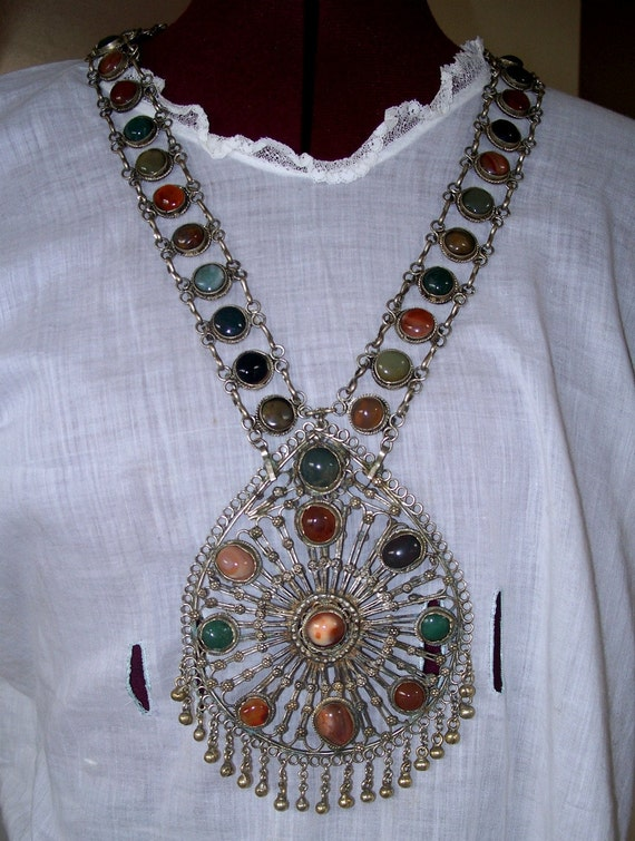 Vintage Tribal Ethnic India Necklace Agate Stones Dangles Huge