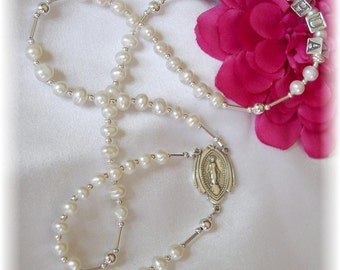 Personalized BABY Rosary Freshwater Pearl Baptism Christening New Baby Gift Religious Gift