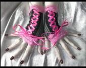 Aspect of Allissa Corset Laced Up Fingerless Gloves - Dark Grey - Black Pinstripes - Pink Lace - Victorian Noir Gothic Belly Dance Emo Goth