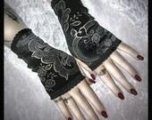 Shes In Parties Fingerless Gloves - Black Velvet - Silver Scroll & Flowers - EGL Vampire Gothic Victorian Dark Tribal Goth Wedding Bohemian