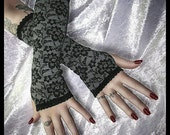 The Black Dahlia Arm Warmers - Black and Charcoal Grey Faux Lace Print - Goth Vampire Lolita Gothic Dark Fusion Belly Dance Bellydance