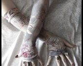 Evening Lotus Arm Warmers - Steel Slate Blue Grey Cream Dove Burgundy Tan Dusty Rose Floral - Yoga Gothic Tribal Cycling Bohemian Goth Gypsy