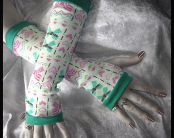 8 Bit Lolita Arm Warmers - Bows Flowers Hearts - Hot Pink Mint Green Brown Teal on Cream - Geek Sweet Rave Decora Goth Emo Gothic