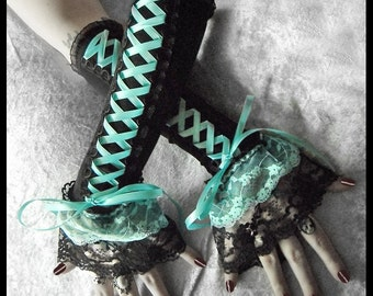 Cyan-ide Corset Laced Up Arm Warmers | Black w/ Light Turquoise Teal Ribbon Lace | Gothic Lolita Vampire Aqua Wedding EGL Rococo Dark Goth
