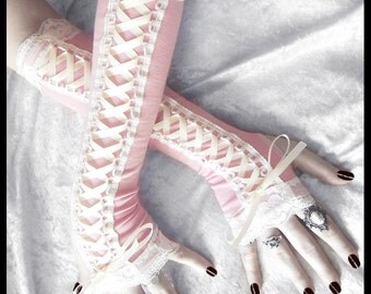 Sugar Maiden Victorian Corset Laced Up Arm Warmers | Light Pink Pale Ivory Lace & Ribbon | Pastel Gothic Goth Burlesque Bridal Cream Cosplay