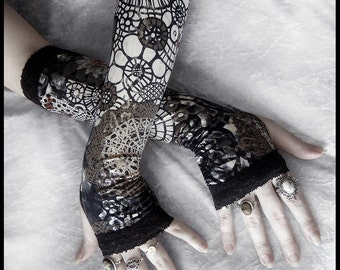 The Tinker's Daughter Arm Warmers - Black Tan Cream Grey - Silver Foil - Lace - Steampunk Noir Gothic Yoga Lolita Goth Bohemian Gears