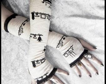 Needful Things Arm Warmers | Antique Ivory Cream Black Victorian Candelabra Birdcage | Gothic Bellydance Lolita Yoga Dark Goth Rustic Noir