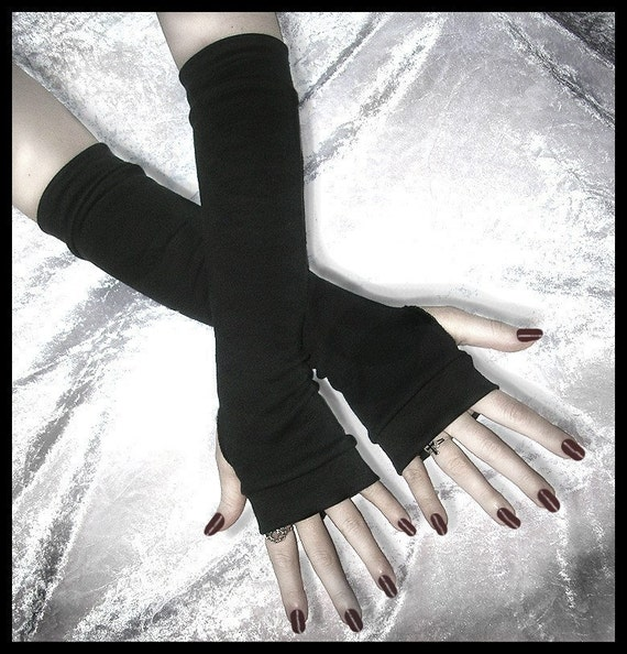 Simplistic Sara Arm Warmers - Soft Black Cotton - Light Dark Fusion Tribal Bellydance Yoga Chic Classic Lolita Vampire Cycling Emo Unisex