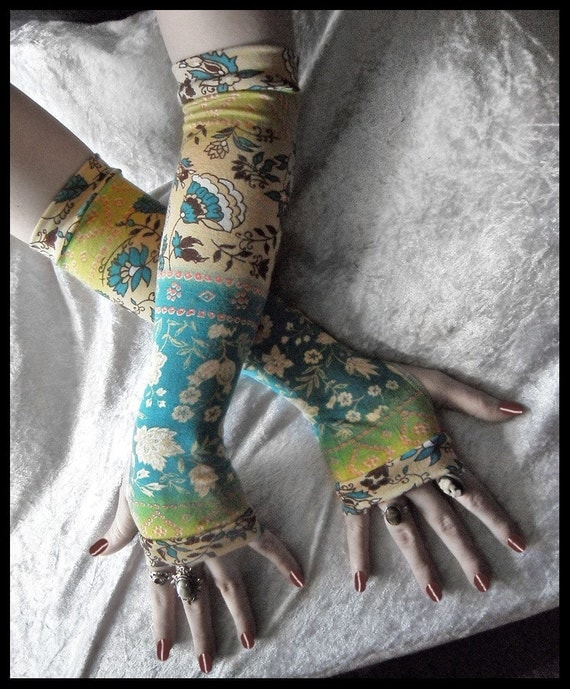 Mediterranean Meditation Arm Warmers - Turquoise Blue Yellow Green Tan Cream & Brown Floral - Yoga Cycling Gothic Tribal Gypsy Light Hooping