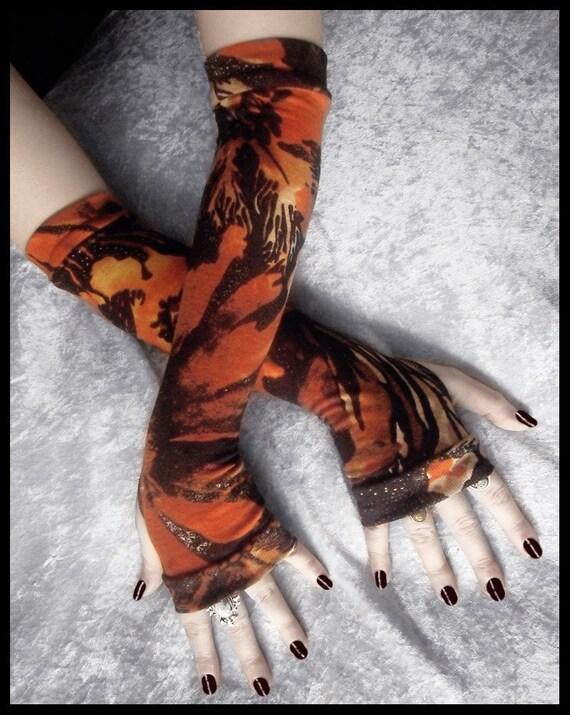 Monarch Arm Warmers - Soft Sweater Knit - Rust Orange Yellow Black Cream Brown Floral Foliage - Bohemian Yoga Gothic Goth Woodland Fall