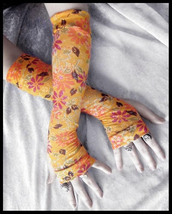 Japanese Spring Arm Warmers - Marigold Yellow Plum Purple Orange Sage Floral Blossom White - Gothic Bellydance Bohemian Light Boho Yoga Goth