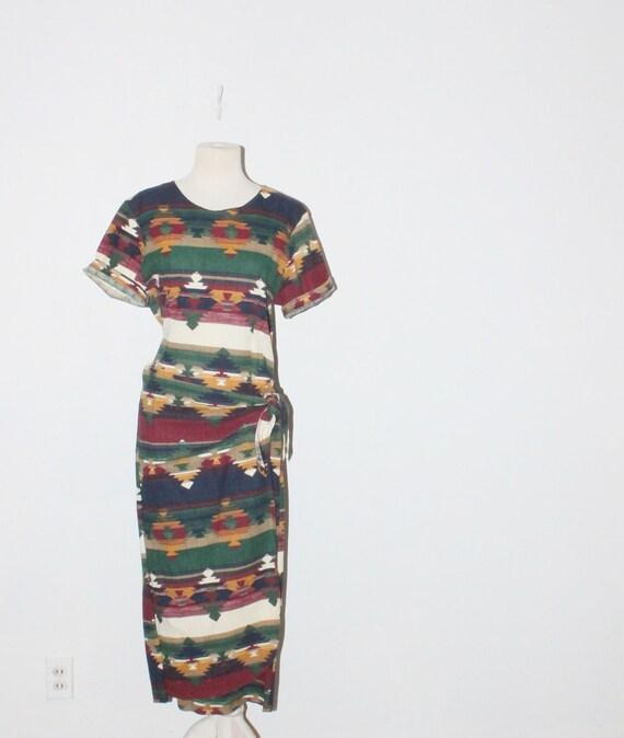 vintage southwest print ethnic wrap shirt dress ( xs - m ) . at montanasnowvintage