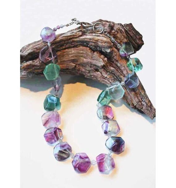 Purple and Green Flourite Briolette Necklace