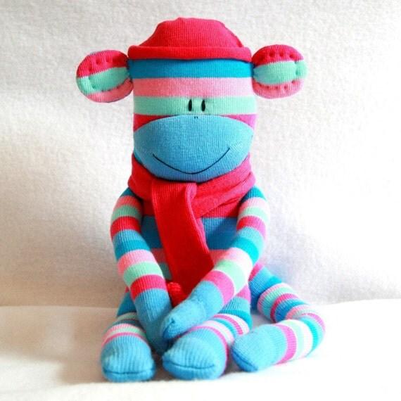 Sock Monkey Kit - Blue and Pink Stripes, Craft Kit, Stuffed Toy