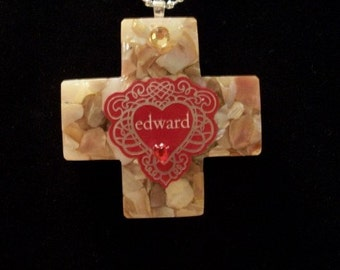 Mother of Pearl Cross Necklace, Heart, Edward, by Brendas Beading on Etsy
