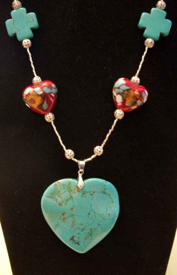 Beaded Necklace, Large Chunky Turquoise Heart,  by Brendas Beading on Etsy